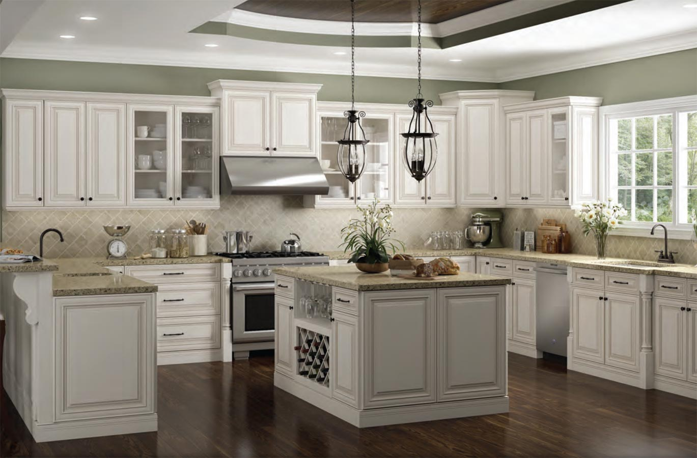 - Charleston Antique White Kitchen Cabinet - Thecabinetbarn.com